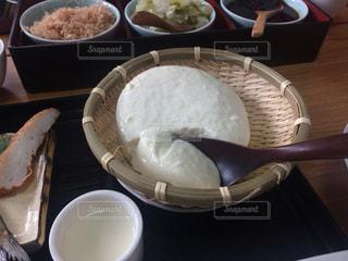 甑島で食べた朝食のざる豆腐の写真・画像素材[1313400]