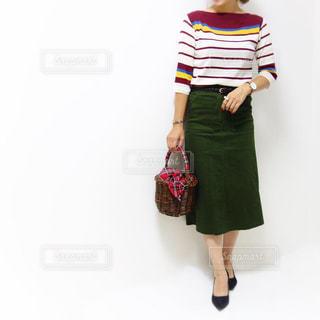 マルチボーダーニットにタイトスカートのキレイめコーデの女性の写真・画像素材[1456032]