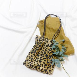 ひょう柄バッグとベージュのベイカースカートの置き画の写真・画像素材[1464327]