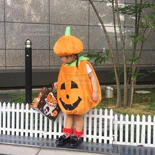 ハロウィン用かぼちゃ仮装をした女の子の写真・画像素材[1529895]