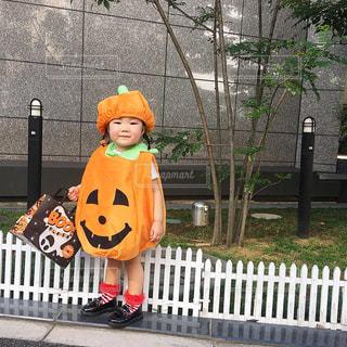 ハロウィンかぼちゃ仮装の子供の全身コーデの写真・画像素材[1529897]