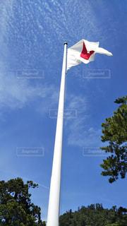 空を飛んでいる国旗の写真・画像素材[2129120]