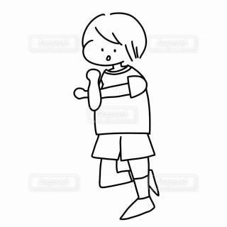 準備体操をする男の子のぬりえの写真・画像素材[2249309]