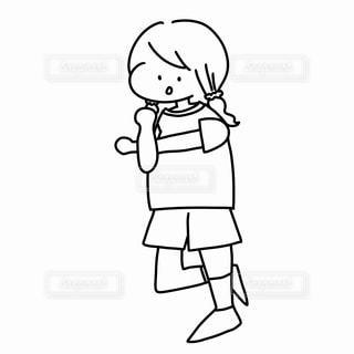 準備体操をする子どものぬりえの写真・画像素材[2249319]