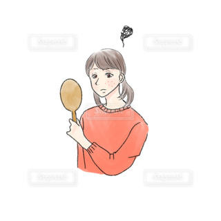 ニキビが気になる女性の絵の写真・画像素材[2713238]