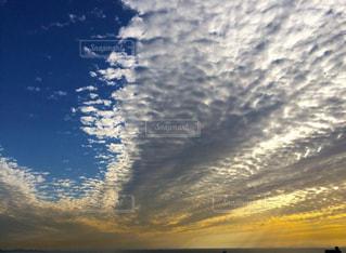 どこまでも続くうろこ雲と水平線の写真・画像素材[2163245]