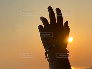背景に夕日があるの写真・画像素材[4441230]