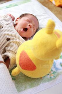 ぬいぐるみを抱いている赤ん坊の写真・画像素材[2211945]