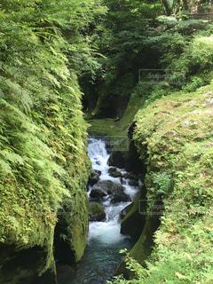 水の体の上の大きな滝の写真・画像素材[2175570]