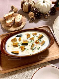 かぼちゃのクリームスープの写真・画像素材[3883126]