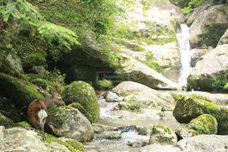 岩の崖の上の大きな滝の写真・画像素材[2862686]