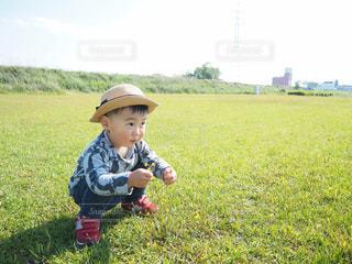 花を摘む少年の写真・画像素材[2202658]