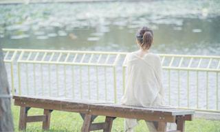 湖のベンチでの写真・画像素材[2199576]