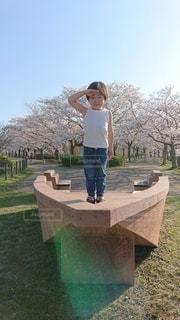 桜の前で敬礼の写真・画像素材[2206105]