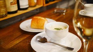 コースディナーのコーンスープの写真・画像素材[1451320]
