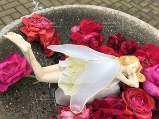 水に浮かぶ妖精の像の写真・画像素材[3483814]