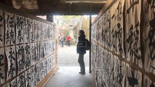 書道展を見る男性の写真・画像素材[2890286]