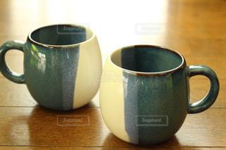 青,マグカップ,ブルー,器,陶器,ペアカップ