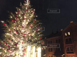 クリスマスツリーと赤レンガの写真・画像素材[890518]