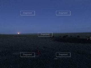 満月と牛達の写真・画像素材[2447356]