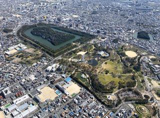 上空から見た仁徳天皇陵の写真・画像素材[3117895]