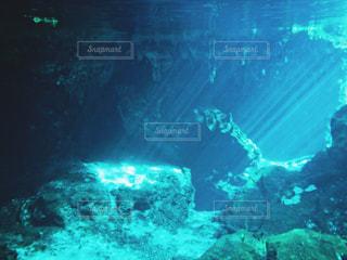 メキシコグランセノーテ、光が差し込む水中写真の写真・画像素材[2505259]