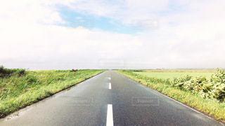 空へ続く直線道路の写真・画像素材[3538749]