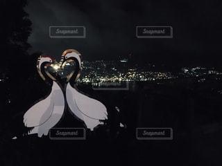ハート鶴と夜景の写真・画像素材[2380816]