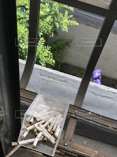 窓の前のベンチの写真・画像素材[3158852]