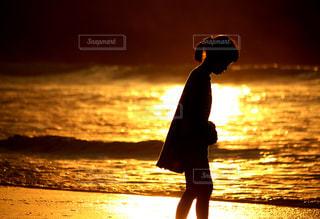 夕陽と少女の写真・画像素材[2320852]