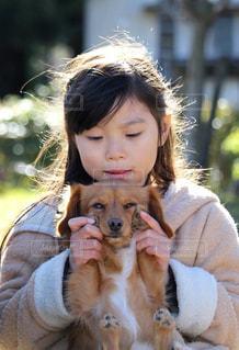 犬を抱いている小さな女の子の写真・画像素材[2323580]