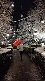 雪にはしゃぐ少女の写真・画像素材[4002677]