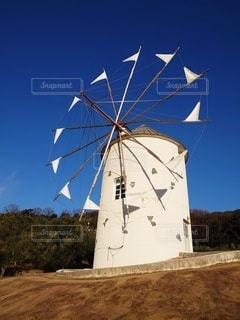 小豆島オリーブ公園のギリシャ風車の写真・画像素材[2914682]