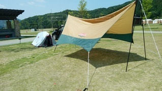 ソロキャンプタープとテントの写真・画像素材[2339199]