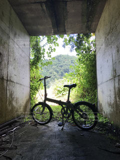 自転車と田舎のトンネル2の写真・画像素材[2354397]