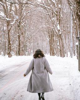 雪の中を歩いている人の写真・画像素材[2845753]