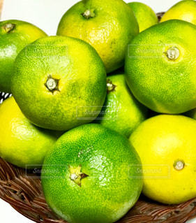 緑のリンゴの上に座っている果物の山の写真・画像素材[2462543]