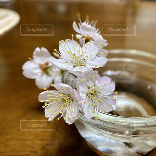 テーブルの上の花瓶のクローズアップの写真・画像素材[3009408]