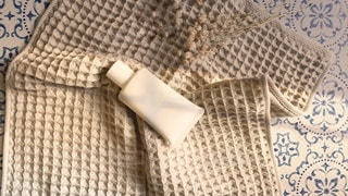 青い毛布の写真・画像素材[3352797]