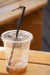 カップのストローと赤トンボの写真・画像素材[2395618]