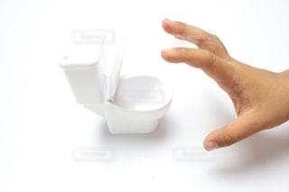 子供の手と洋式トイレの写真・画像素材[2393024]