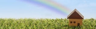 家と虹の写真・画像素材[4339604]