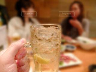 お酒を飲みながら女性の友達と会話を楽しむ飲み会の写真・画像素材[4690787]