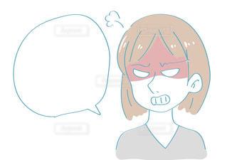 怒る女性 吹き出し イライラの写真・画像素材[2426250]