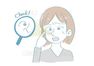 目元のシワとほうれい線を見つけた女性の写真・画像素材[2463525]