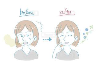 口臭に悩む女性(ビフォーアフター2)の写真・画像素材[2493711]