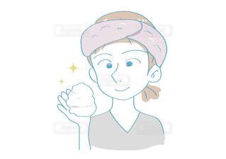 洗顔前の女性の写真・画像素材[2637993]