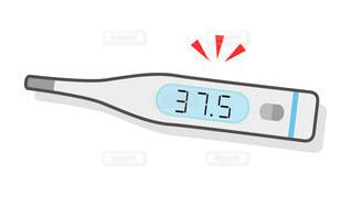 体温計のカラーイラスト 37.5℃ 微熱の写真・画像素材[3497057]