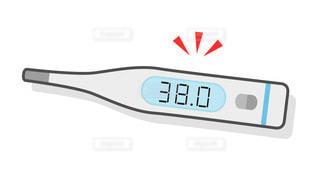 体温計のカラーイラスト 38.0℃ 微熱の写真・画像素材[3497058]