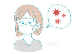 ウイルスについて考える女性の写真・画像素材[3505243]